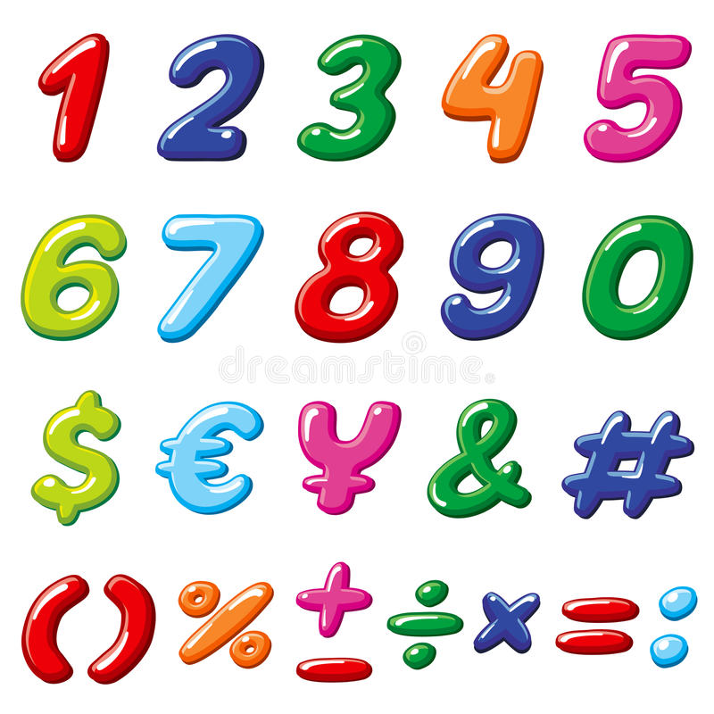 Vector i numeri della caramella dell'arcobaleno ed i simboli divertenti lucidi dell'alfabeto dei bambini del fumetto illustrazione vettoriale