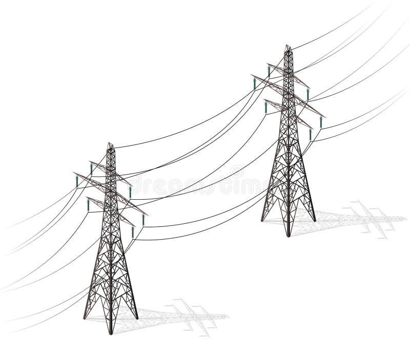 Vector i piloni ad alta tensione su fondo bianco, la prospettiva isometrica 3d illustrazione vettoriale