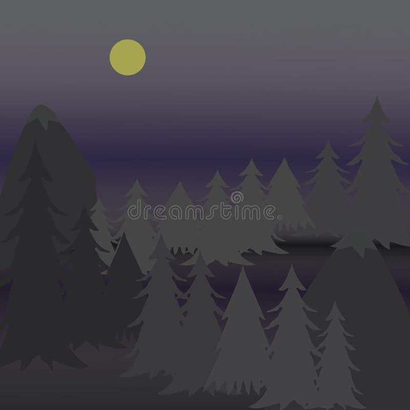 Vector i pini dell'illustrazione sulla montagna irregolare alla notte immagini stock