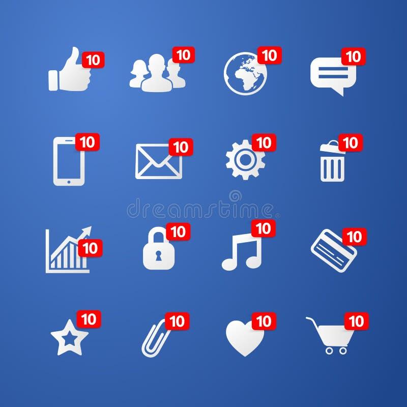 Vector i pollici di concetto dell'illustrazione su come l'icona della rete sociale con il nuovo simbolo di numero di apprezzament illustrazione vettoriale