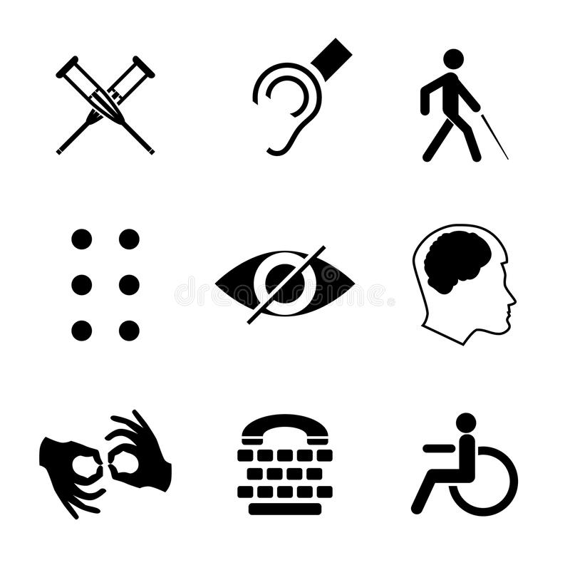 Vector i segni disabili con sordo, muto, muto, cieco, fonte di Braille, malattia mentale royalty illustrazione gratis