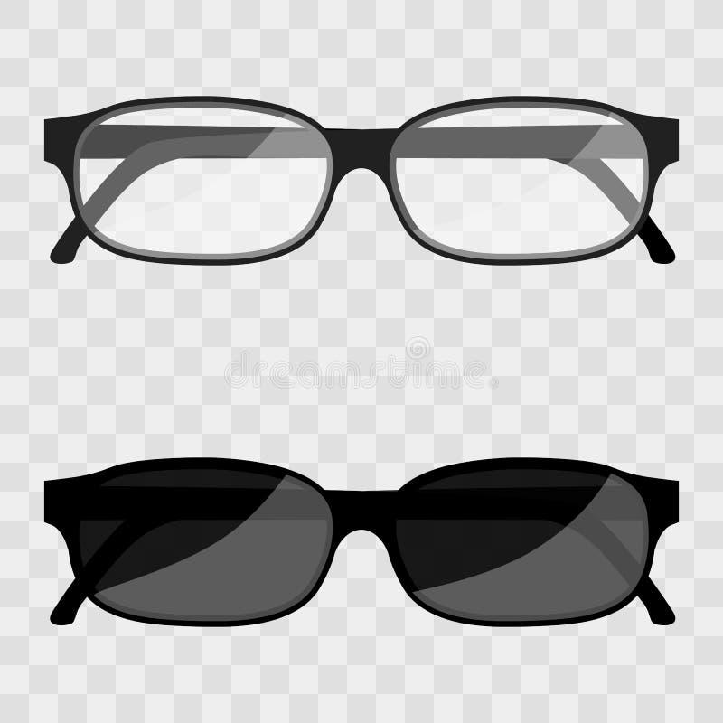 Vector i vetri del geek incorniciati metallo dell'illustrazione isolati su un fondo trasparente Vetri dell'occhio nero royalty illustrazione gratis