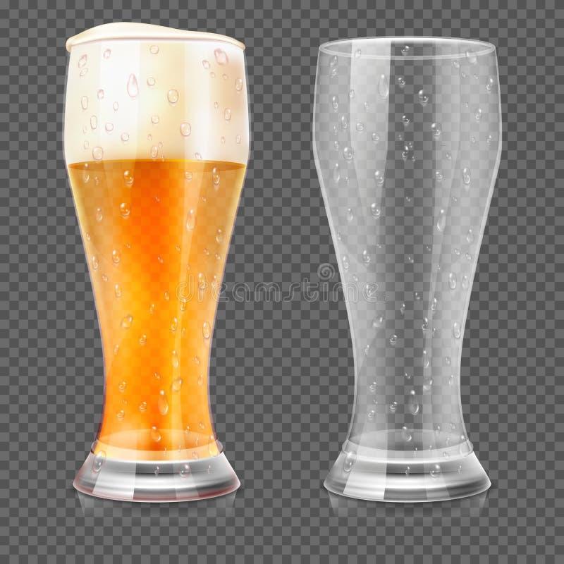Vector i vetri di birra realistici, la tazza vuota ed il vetro pieno della lager illustrazione di stock