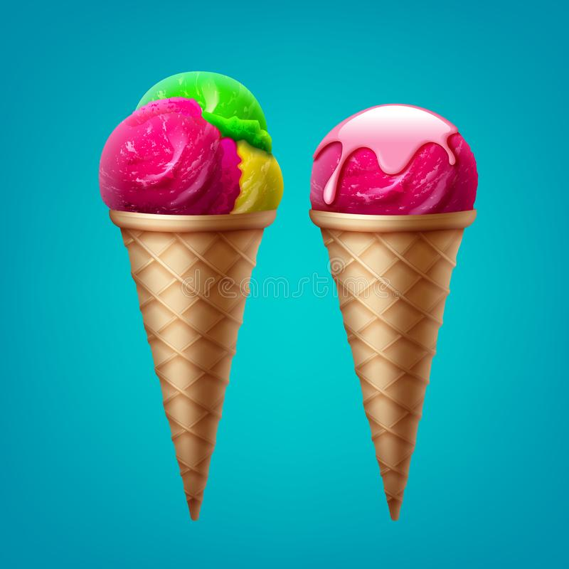 Vector ice cream. Cone with one scoop in glaze and ice cream cone with three scoops different flavor on blue background stock illustration