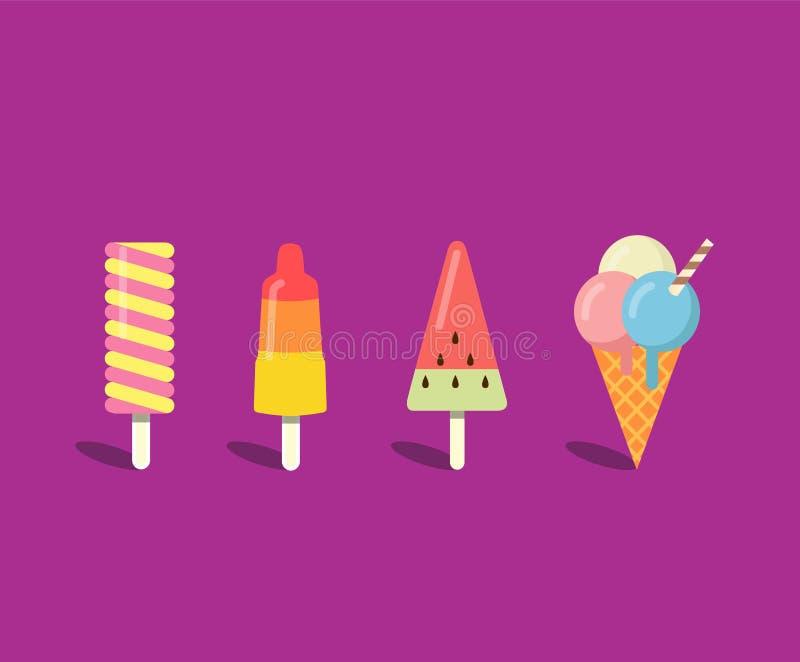 Ice cream set in flat style stock illustration
