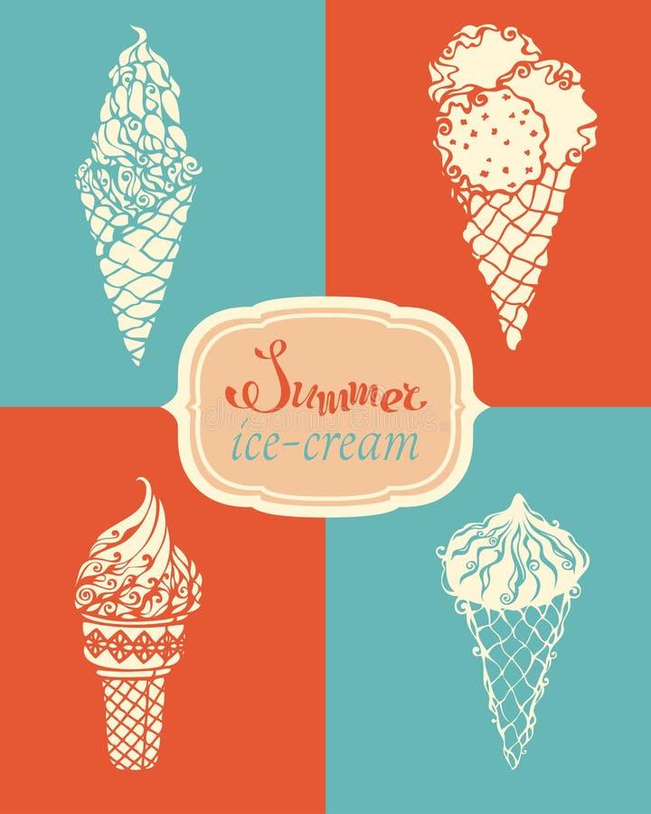 Vector ice-cream set. Retro summer illustration for your design vector illustration