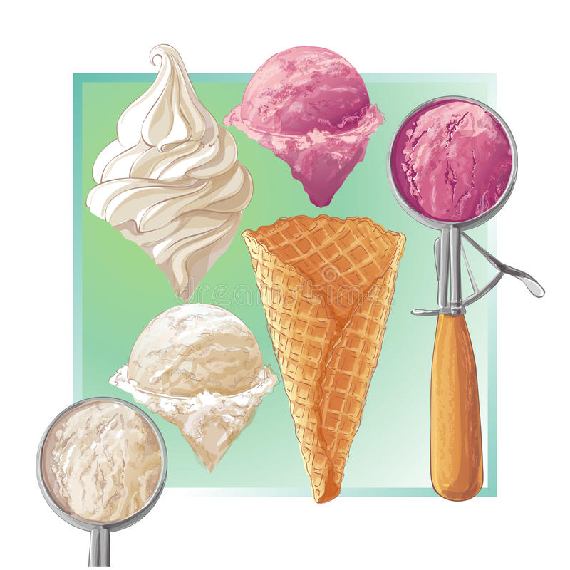 Vector ice cream in waffle cone. Set of watercolor ice creams in waffle cones. Vector illustration. Isolated objects on a white background stock illustration
