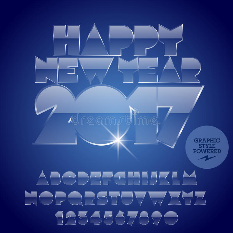 Vector ice Happy New Year 2017 greeting card stock illustration