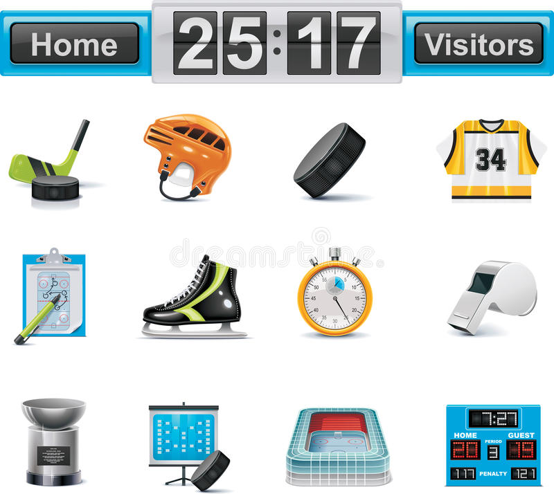 Vector Ice Hockey Icon Set Royalty Free Stock Photography