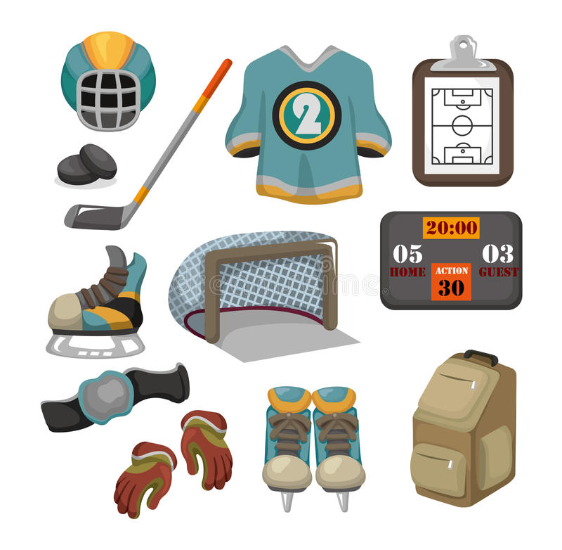 Vector ice hockey icon set stock illustration