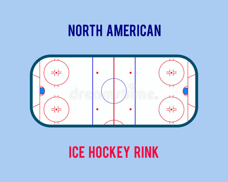 Vector ice hockey rink isolated on the white background. Top view illustration. vector illustration