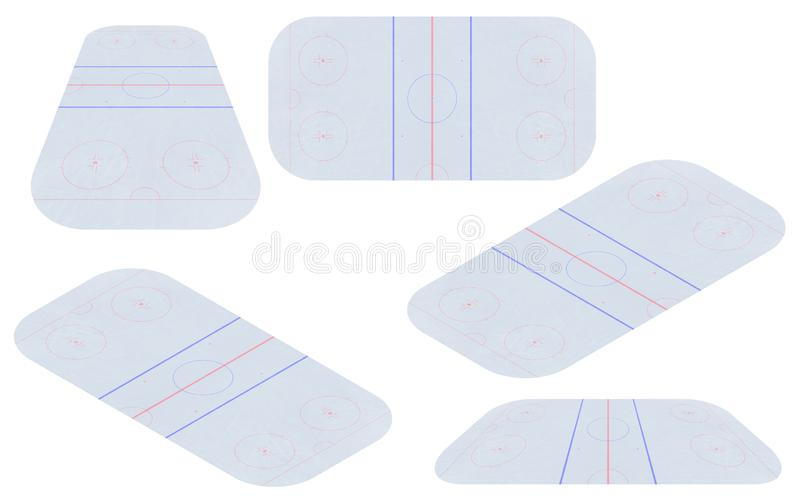 Vector of ice hockey rink. Textures blue ice. Ice rink. top view. Vector illustration background. royalty free illustration