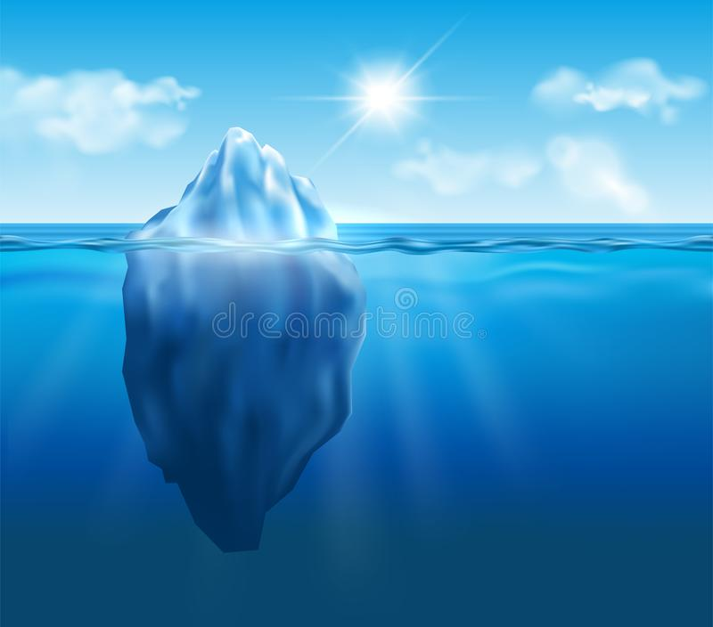 Vector iceberg floating in blue ocean with sun and clouds in the stock illustration