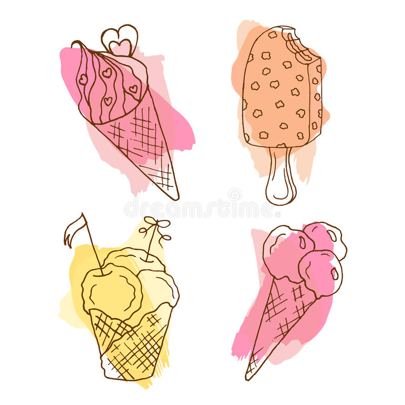 Vector icecream doodle illustration. Set of 4 hand drawn icecreams with colorful splashes. royalty free illustration