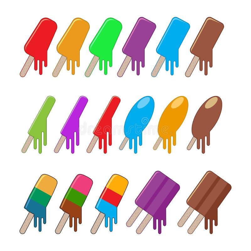 Vector icecream popsicles stock photography