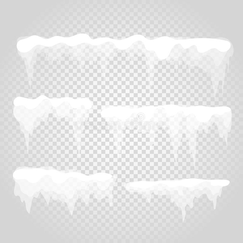 Vector icicle and snow elements on transparent vector illustration