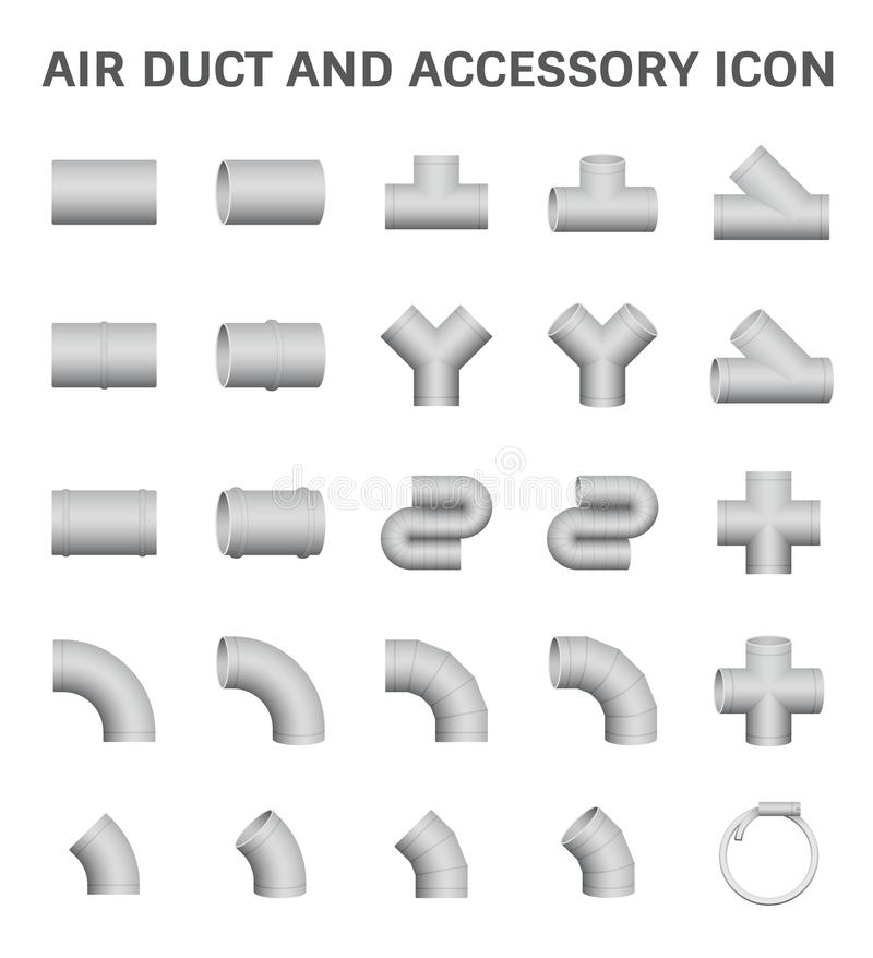 Air Duct Icon. Vector icon of air duct and accessory for air conditioning or HVAC system vector illustration