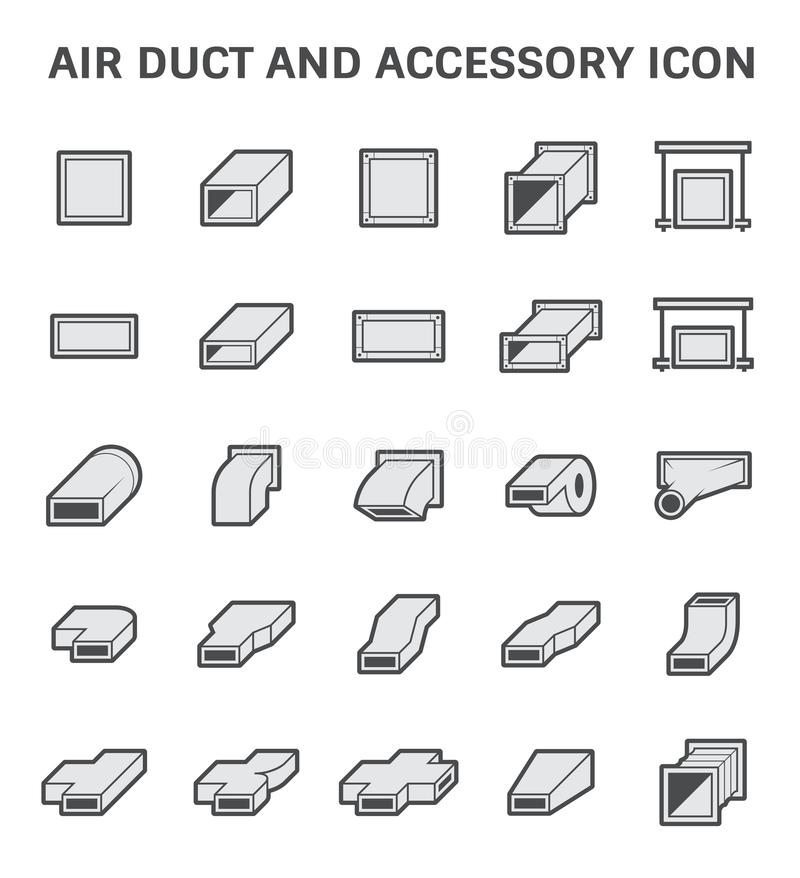 Air duct icon. Vector icon of air duct and accessory for air conditioning or HVAC system royalty free illustration