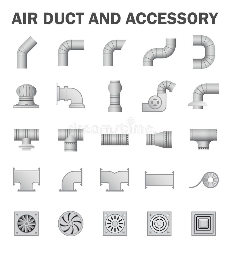 Duct pipe isolated. Vector icon of air duct pipe connector for air conditioner and HVAC system vector illustration