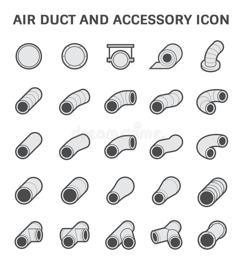 Air Duct Icon. Vector icon of air duct pipe fitting for air conditioner and HVAC system royalty free illustration