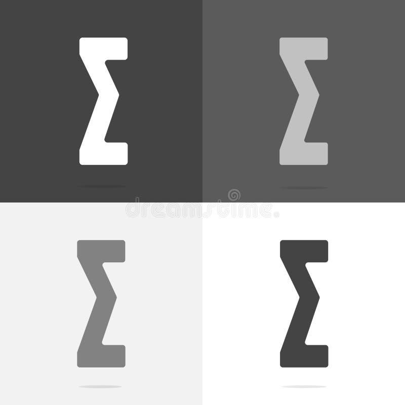 Vector icon algebraic sum. Set a flat sigma icon on white-grey-black color stock illustration