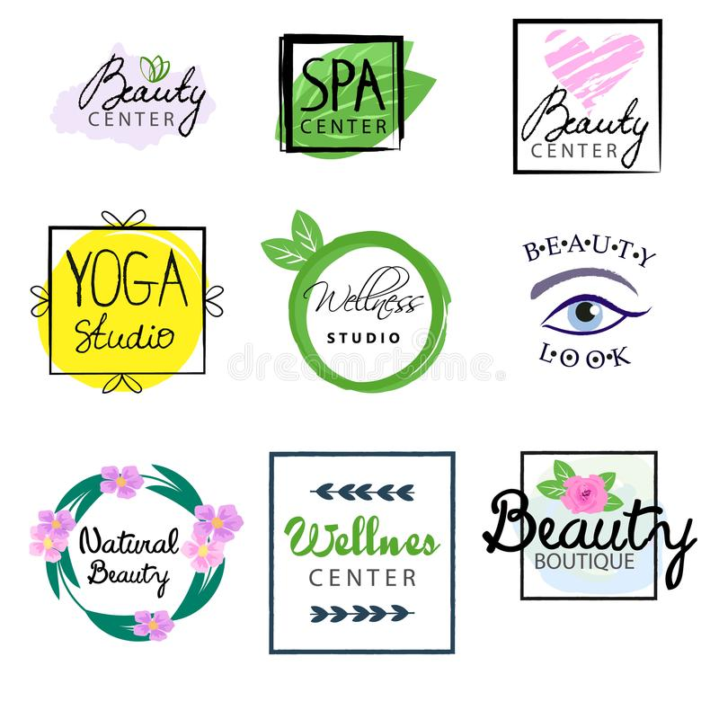 Vector Icon beauty natural cosmetics. Vector Icon All Natural Cosmetics Food Label Tag Watercolor Stain and Handwritten Words vector illustration
