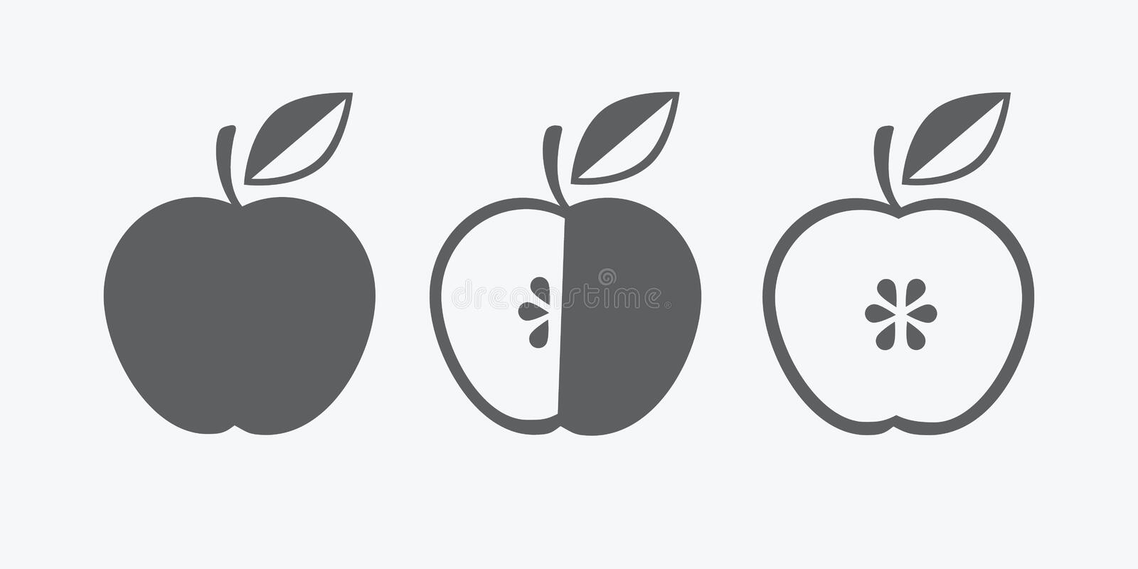 Vector icon of apple, whole and in cross section. symbol. monochrome. flat royalty free illustration