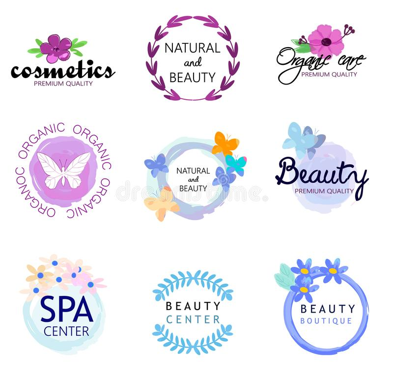 Vector Icon beauty natural cosmetics. Vector Icon All Natural Cosmetics Food Label Tag Watercolor Stain and Handwritten Words royalty free illustration