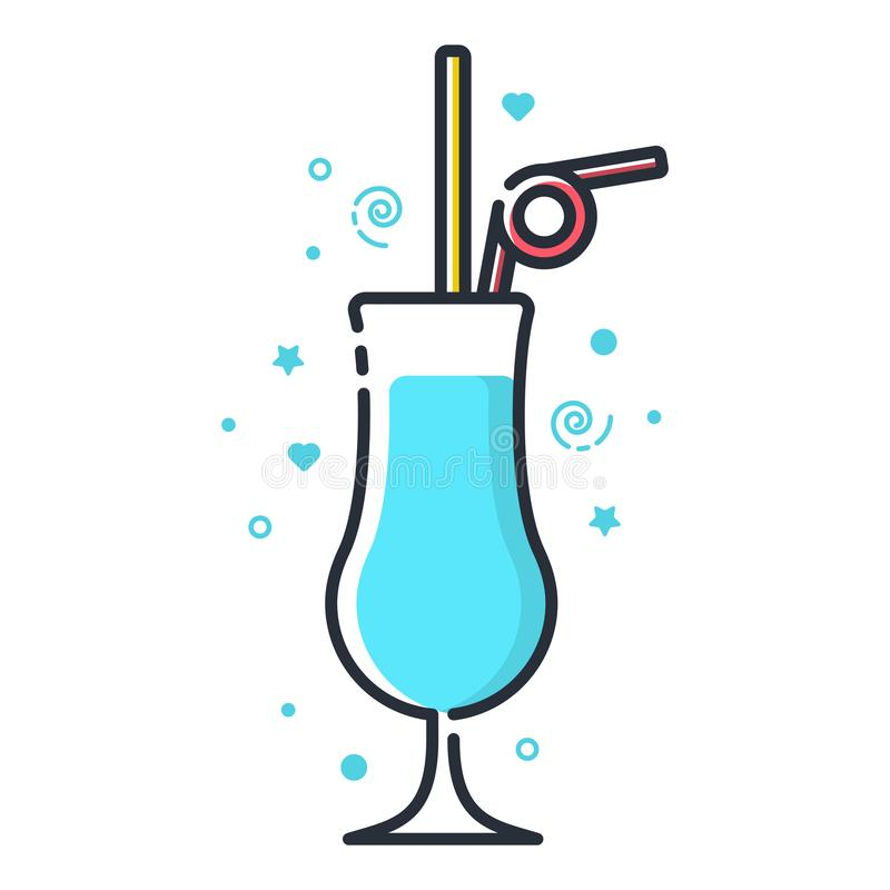 Vector icon of blue lagoon cocktail. Suitable for advertising, bar menu decor, application design royalty free illustration