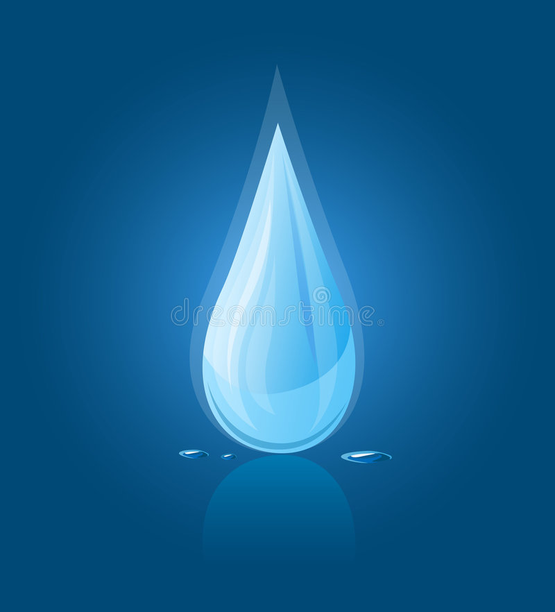 Vector icon of blue water drop royalty free illustration