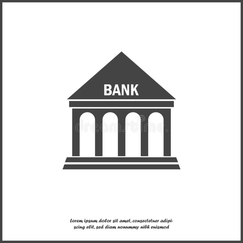 Vector icon building bank illustration on white isolated background. Layers grouped for easy editing illustration. stock illustration