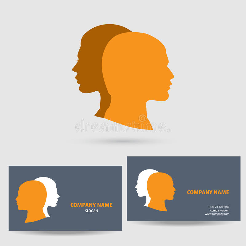 Vector icon with business card template. Vector icon design logo element with business card template royalty free illustration