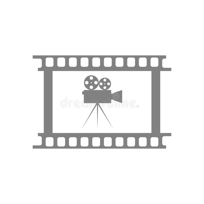Vector icon camcorder and frame film strip. Old vintage style. stock illustration