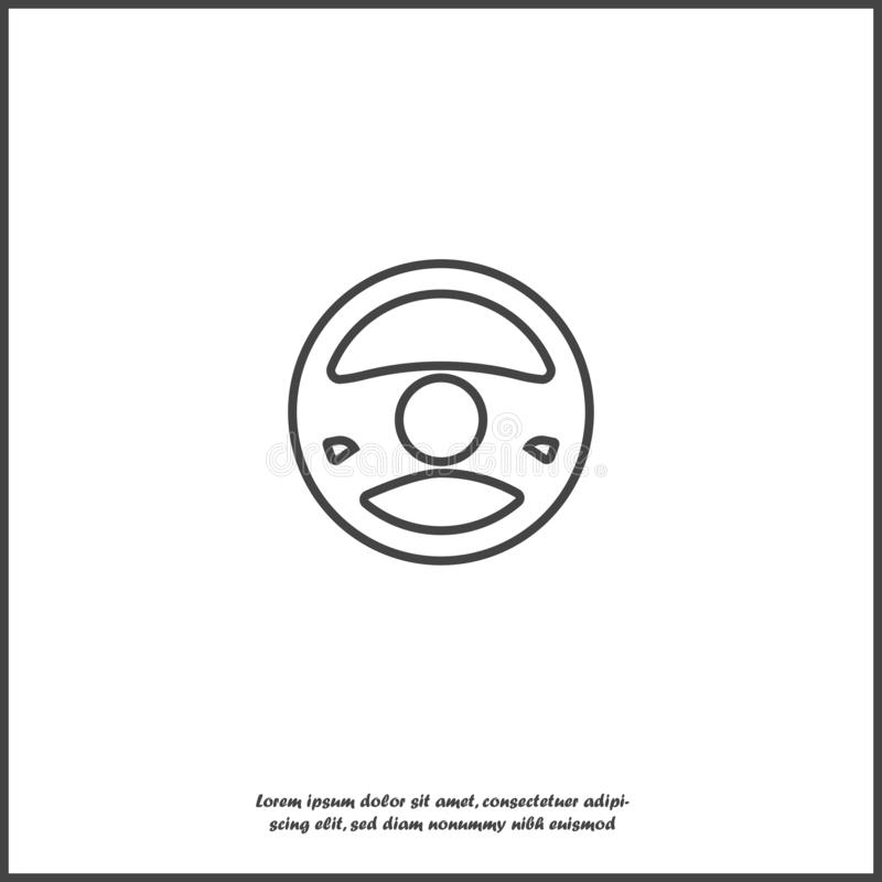 Vector icon of car steering wheel on white isolated background. Layers grouped for easy editing illustration stock illustration