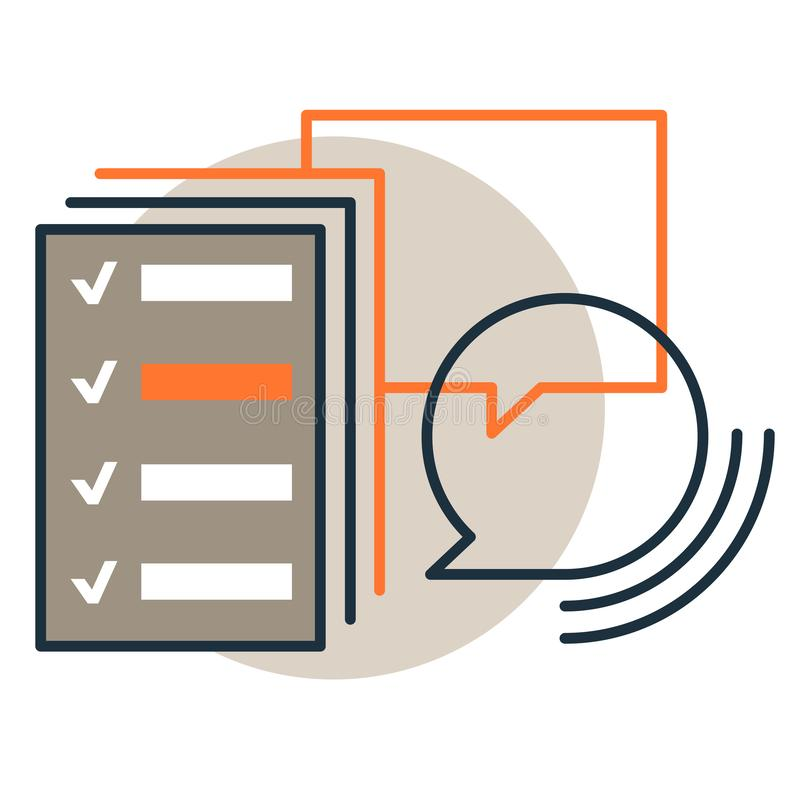 Vector icon of checklist review, survey report with checkboxes. Trendy flat line design style stock illustration