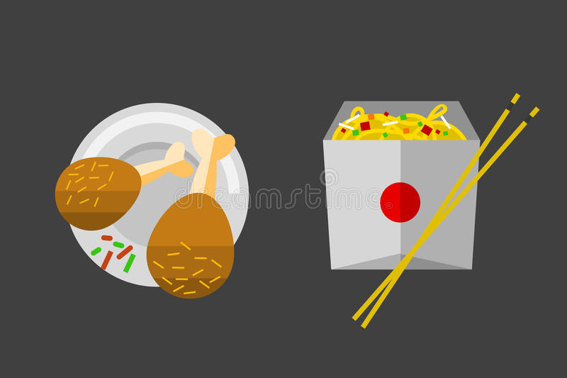 Vector icon chiken legs fast food. Vector icons chiken legs fast food elements. Restaurant breakfast menu isolated symbols. Cake design kitchen dinner and royalty free illustration
