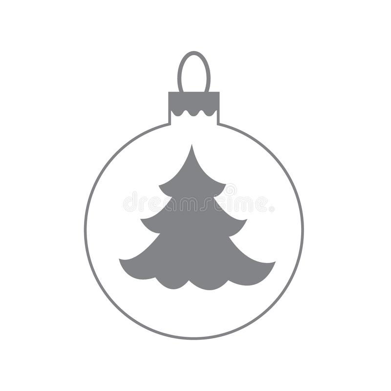 Vector icon Christmas ball with silhouette of Christmas tree. Vector icon Christmas ball with silhouette of Christmas tree on white background royalty free illustration