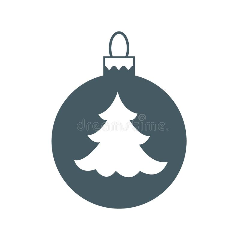 Vector icon Christmas ball with silhouette of Christmas tree. Vector icon Christmas ball with silhouette of Christmas tree on white background vector illustration