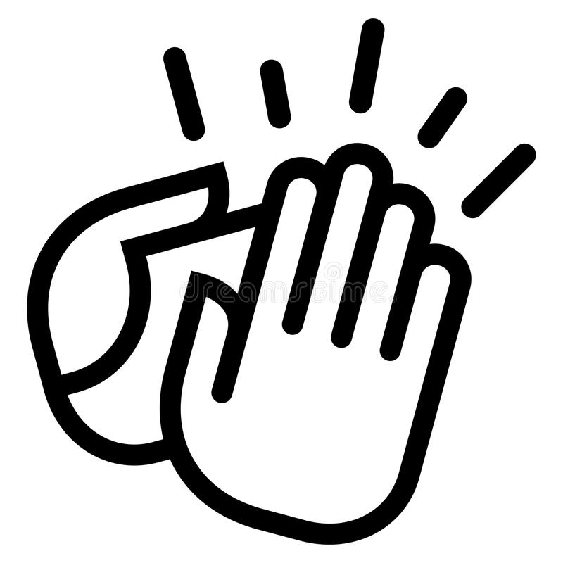 Clapping hands icon. Vector icon of clapping hands with motion lines around them stock illustration