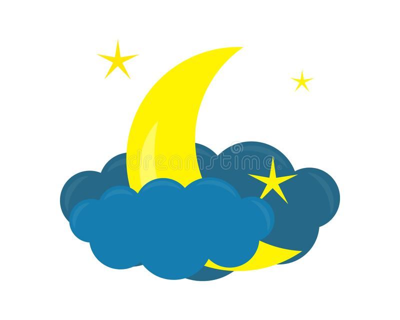 Vector icon with cloud and moon, stars closeup isolated on white background. Vector illustration royalty free illustration
