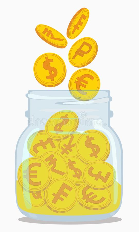 Gold coins with currency symbols in a transparent pot. Vector illustration. royalty free illustration