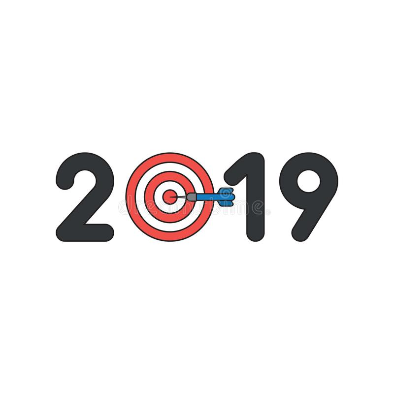Vector icon concept of 2019 with bulls eye and dart in the center vector illustration