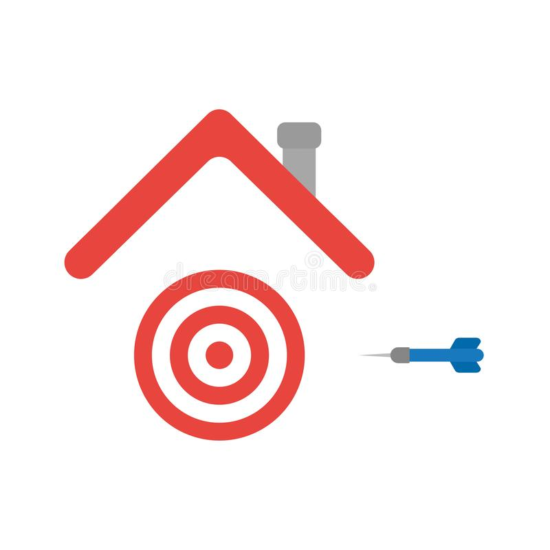 Vector icon concept of bulls eye and dart under house roof. Vector illustration icon concept of bulls eye and dart under house roof vector illustration