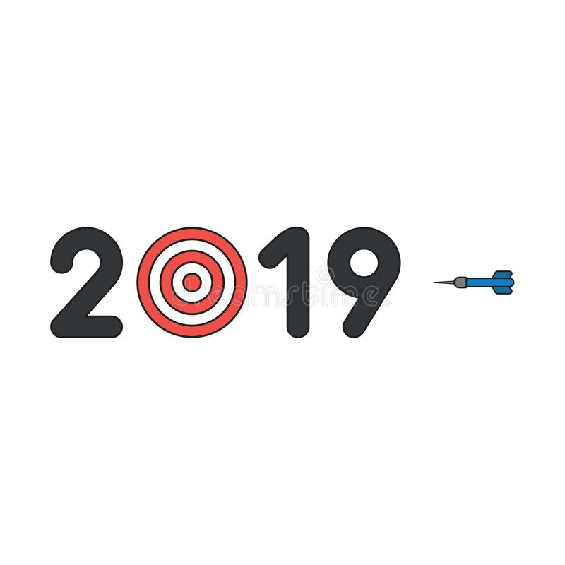 Vector icon concept of 2019 with bulls eye and dart royalty free illustration