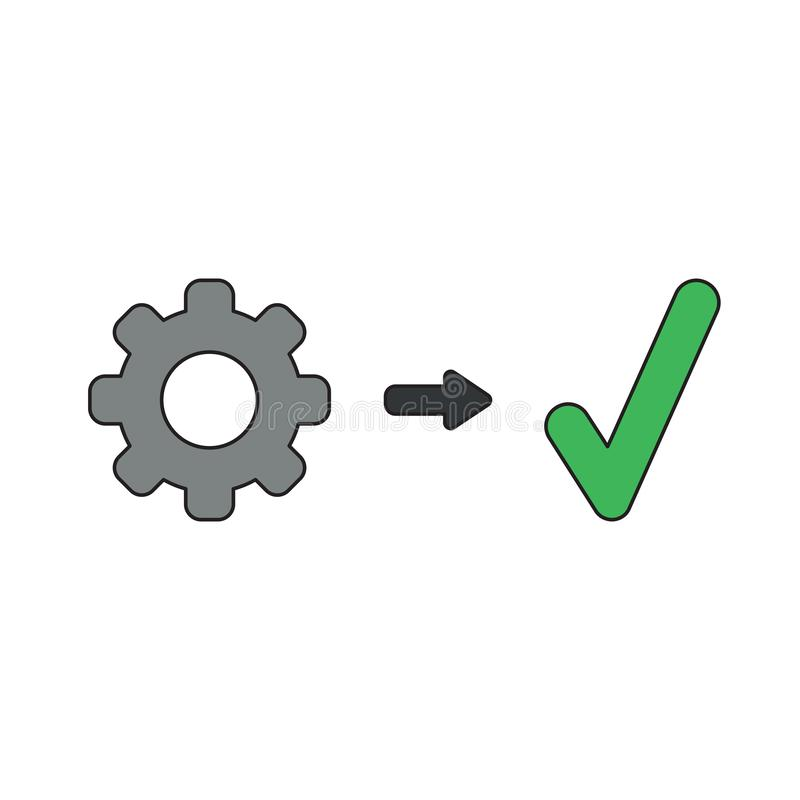 Vector icon concept of gear with check mark vector illustration