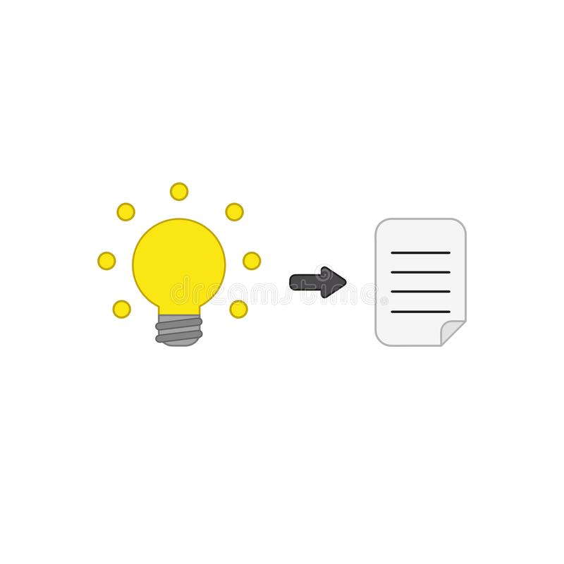 Vector icon concept of glowing light bulb and written paper. Vector icon concept of yellow glowing light bulb and written paper. Colored outlines royalty free illustration