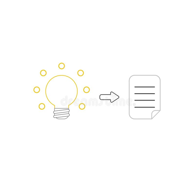 Vector icon concept of glowing light bulb and written paper. Vector icon concept of yellow glowing light bulb and written paper. White background and colored vector illustration