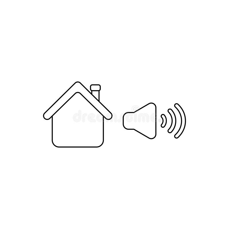 Vector icon concept of house with high speaker sound, loud voice. Black outline. S vector illustration