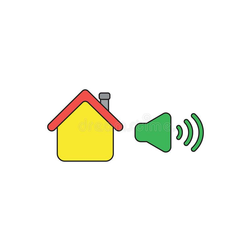 Vector icon concept of house with high speaker sound, loud voice. Black outlines and colored. Vector icon concept of yellow house with green high speaker sound vector illustration