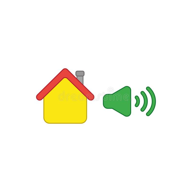 Vector icon concept of house with high speaker sound, loud voice. Vector icon concept of yellow house with green high speaker sound, loud voice. Colored outlines royalty free illustration
